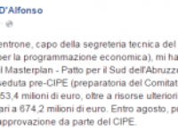 D'Alfonso: il Masterplan – Patto per il Sud dell'Abruzzo è stato approvato nella seduta pre-CIPE