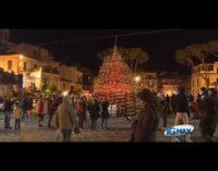 L'albero di Natale senziente si accende a led rossi, i vigili del fuoco incoronano di luci la Madonna del ponte
