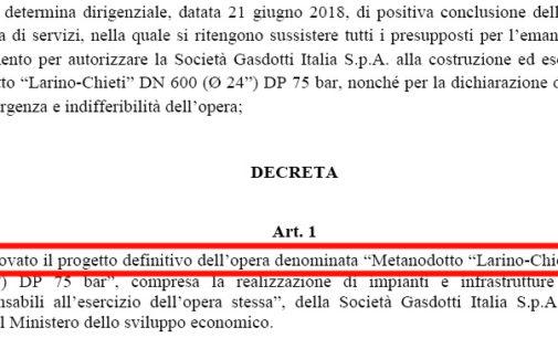 Gasdotto Larino-Chieti: Mise emana il decreto che autorizza l'infrastruttura, che farà la maggioranza regionale?