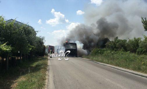 Autobus a fuoco a Poggiofiorito, un automobilista fa cenno all'autista che si ferma e fa scendere i passeggeri