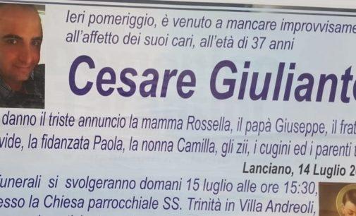 Lanciano: domenica pomeriggio i funerali di Cesare Giuliante a Villa Andreoli