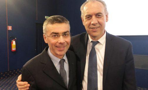 Giacinto Verna con Giovanni Legniniin visita ai pastifici di Fara San Martino