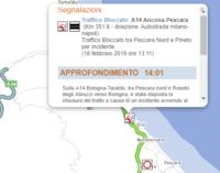A14: incidente tra Pescara nord e Roseto, traffico bloccato