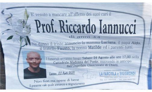 Lanciano, oggi pomeriggio i funerali di Riccardo Iannucci in cattedrale