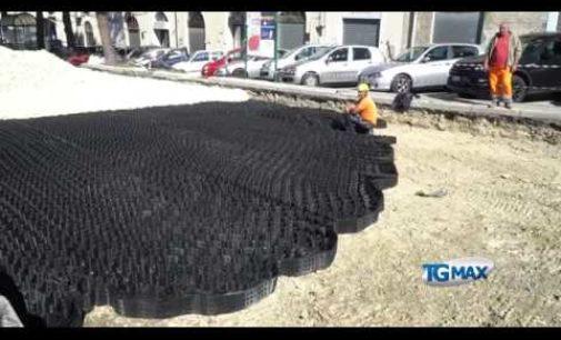 Lanciano: ecco le geogriglie sotto l'asfalto di piazza D'Amico