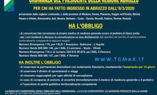 Coronavirus: 17 casi positivi in Abruzzo, l'appello del presidente Marsilio