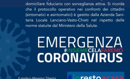 Coronavirus: 6 casi positivi a Casoli, 2 persone in quarantena