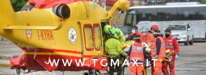 Incidente domestico a Lanciano, atterraggio al terminal bus per l'elisoccorso