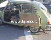 Fondovalle Sangro: un furgoncino prende fuoco e un pick up si scontra con una vecchia Fiat 600